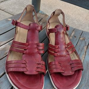 Women's Ecco Red Leather Strappy Sandals 1141